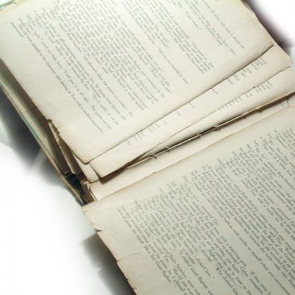 Unrestored - Broken page sections and considerable damage to edges of pages.